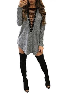 Yidarton Damen Minikleid Lace-up Lange Ärmel Tiefe V-Ausschnitt Mini Hemdkleid Tops Bluse (Medium, Grau) - 1