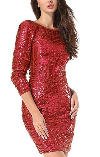 Yidarton Damen Paillettenkleid Langarm Rundhals Backless Partykleid Ballkleid Abend Minikleid (Rot, Large) - 2
