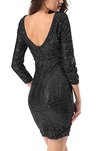 Yidarton Damen Paillettenkleid Langarm Rundhals Backless Partykleid Ballkleid Abend Minikleid (Schwarz, Large) - 1
