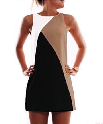 Yidarton Damen Sommer Casual Sleeveless Minikleid Geometrische Mosaik Abend Partei Kurzschluss Strandkleid (M / EU 38-40, Khaki) -