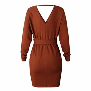 Yidarton Pullover Damen Strickkleid PulloverKleid Sexy Elegant Rückenfrei V-Ausschnitt Langarm Pullover Kleid Minikleid mit GüRtel (Braun, S) - 2