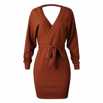 Yidarton Pullover Damen Strickkleid PulloverKleid Sexy Elegant Rückenfrei V-Ausschnitt Langarm Pullover Kleid Minikleid mit GüRtel (Braun, S) - 3