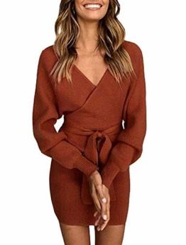 Yidarton Pullover Damen Strickkleid PulloverKleid Sexy Elegant Rückenfrei V-Ausschnitt Langarm Pullover Kleid Minikleid mit GüRtel (Braun, S) - 1