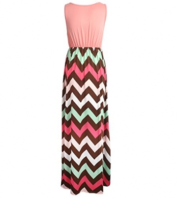 Yidarton Sommerkleid Damen Lang Chiffon High Waist Striped Sleeveless Beach Kleid Partykleid Elegant (X-Large, Rose) -