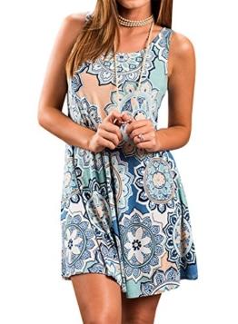 Yidarton Sommerkleid Tunika ärmellos für Urlaub und Strand | Rundhals 1