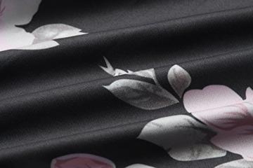 Yieune Sommerkleider Lange Ärmel Schulterkleid Blumenmuster Kurzes Strandkleid (Schwarz XXL) - 6