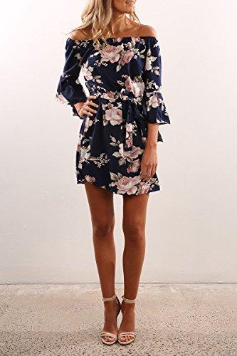 Yieune Sommerkleider Lange Ärmel Schulterkleid Blumenmuster Kurzes Strandkleid(Blau XL) -