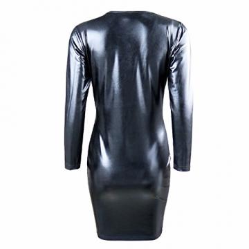 YiZYiF Damen Sexy Bodycon Partykleid Figurbetontes Kleid Minikleid Lackleder Clubwear Kleider Schwarz 2XL -