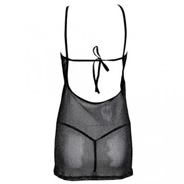 YiZYiF Sexy Damen Unterwäsche Schnürung Nachtwäsche Höhlen Babydoll Erotik Dessous transparent Kleid mit G String (Schwarz Kleid) - 5