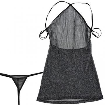 YiZYiF Sexy Damen Unterwäsche Schnürung Nachtwäsche Höhlen Babydoll Erotik Dessous transparent Kleid mit G String (Schwarz Kleid) - 6