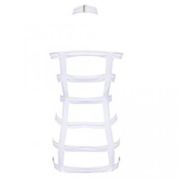 YiZYiF Sexy Durchsichtig Minikleid Babydoll Dessous Set Damen Kleid Reizvolle Wäsche + G-string Weiß Einheitsgröße (Brust 78-120cm) - 5