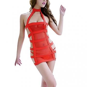 YiZYiF Sexy Durchsichtig Minikleid Babydoll Dessous Set Damen Kleid Reizvolle Wäsche + G-string Rot Einheitsgröße (Brust 78-120cm) - 1