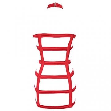 YiZYiF Sexy Durchsichtig Minikleid Babydoll Dessous Set Damen Kleid Reizvolle Wäsche + G-string Rot Einheitsgröße (Brust 78-120cm) - 5