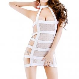 YiZYiF Sexy Durchsichtig Minikleid Babydoll Dessous Set Damen Kleid Reizvolle Wäsche + G-string Weiß Einheitsgröße (Brust 78-120cm) - 1