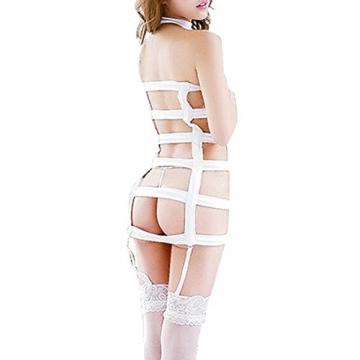 YiZYiF Sexy Durchsichtig Minikleid Babydoll Dessous Set Damen Kleid Reizvolle Wäsche + G-string Weiß Einheitsgröße (Brust 78-120cm) - 2