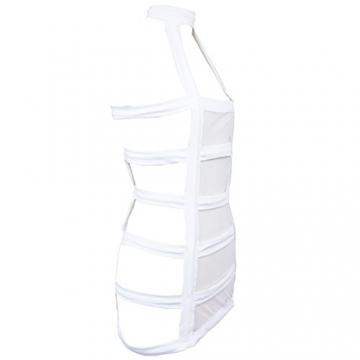 YiZYiF Sexy Durchsichtig Minikleid Babydoll Dessous Set Damen Kleid Reizvolle Wäsche + G-string Weiß Einheitsgröße (Brust 78-120cm) - 4