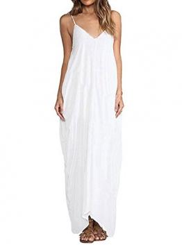 YJ-WAN Damen Strandkleid Trägerkleid Tief V Hippie Boho Sleeveless Maxi Kleid Casual Beach Dress Size L -