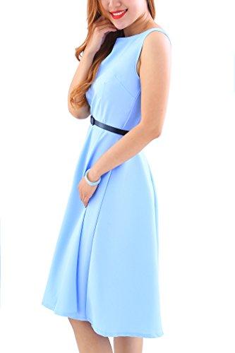 YMING Damen 50er Rockabilly Kleid Retro Partykleid Einfärbig Vintage Elegantes Kleid,Hellblau,XL/DE 42-44 - 2