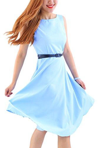 YMING Damen 50er Rockabilly Kleid Retro Partykleid Einfärbig Vintage Elegantes Kleid,Hellblau,XL/DE 42-44 - 3