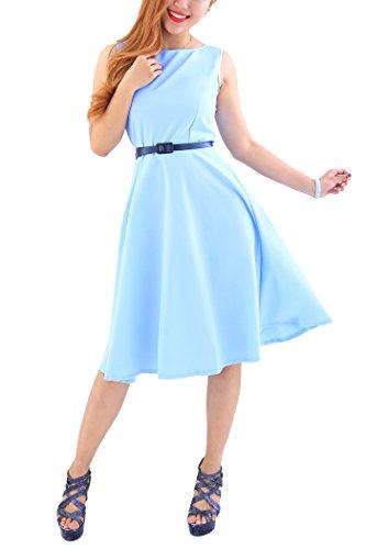 YMING Damen 50er Rockabilly Kleid Retro Partykleid Einfärbig Vintage Elegantes Kleid,Hellblau,XL/DE 42-44 - 4