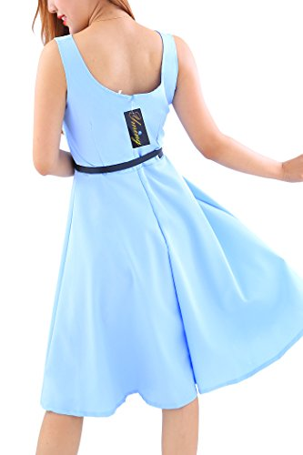 YMING Damen 50er Rockabilly Kleid Retro Partykleid Einfärbig Vintage Elegantes Kleid,Hellblau,XL/DE 42-44 - 5