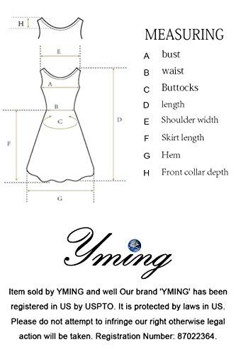 YMING Damen 50er Rockabilly Kleid Retro Partykleid Einfärbig Vintage Elegantes Kleid,Hellblau,XL/DE 42-44 - 7