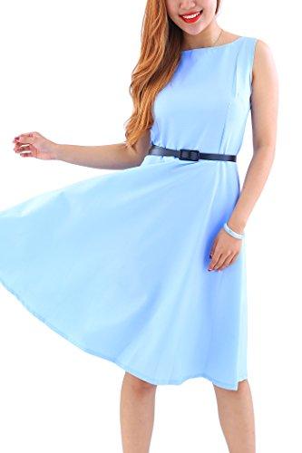 c84440b77eaf9a YMING Damen 50er Rockabilly Kleid Retro Partykleid Einfärbig Vintage  Elegantes Kleid,Hellblau,XL/