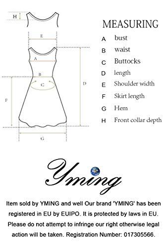 YMING Damen Abendkleid Sexy figurbetontes Kleid Cocktailkleid Abendmode Strechkleid Übergröße,Rot,XXL/DE 44-46 - 6