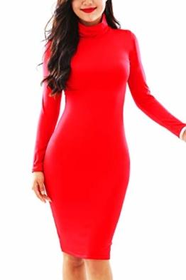 YMING Damen Abendkleid Sexy figurbetontes Kleid Cocktailkleid Abendmode Strechkleid Übergröße,Rot,XXL/DE 44-46 - 1