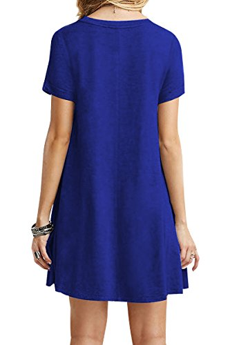 YMING Damen Kurzarm Kleid Lose T-Shirt Kleid Rundhals Casual Tunika Mini Kleid,Saphir,M / DE 38 -