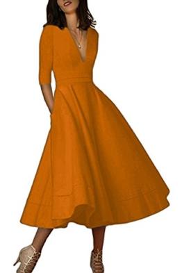 YMING Damen Langarm Freizeitkleider Vintage Tief V Ausschnitt Sexy Abendkleid,Bronze,L,DE 40 42 - 1