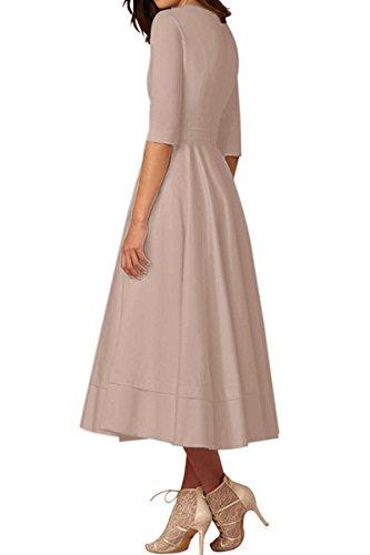 YMING Damen Langarm Kleid Stretch Kleid Freizeitkleider Partykleider Tief V Ausschnitt Formalkleid,Khaki,L,DE 40 42 - 2