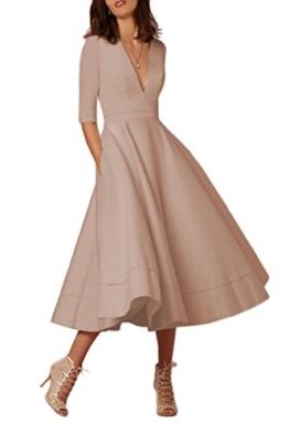 YMING Damen Langarm Kleid Stretch Kleid Freizeitkleider Partykleider Tief V Ausschnitt Formalkleid,Khaki,L,DE 40 42 - 1