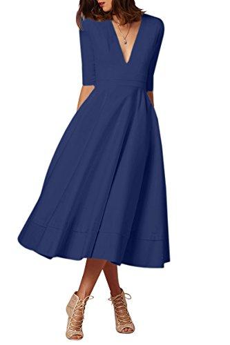 YMING Damen Langarm Kleid Stretch Kleid Freizeitkleider Partykleider Tief V Ausschnitt Formalkleid,Navy Blau,L,DE 40 42 - 1