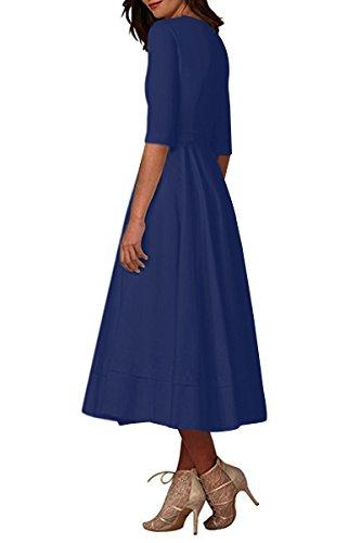 YMING Damen Langarm Kleid Stretch Kleid Freizeitkleider Partykleider Tief V Ausschnitt Formalkleid,Navy Blau,L,DE 40 42 - 2