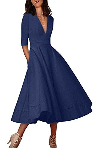 YMING Damen Langarm Kleid Stretch Kleid Freizeitkleider Partykleider Tief V Ausschnitt Formalkleid,Navy Blau,L,DE 40 42 - 3