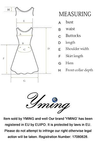 YMING Damen Langarm Kleid Stretch Kleid Freizeitkleider Partykleider Tief V Ausschnitt Formalkleid,Navy Blau,L,DE 40 42 - 5