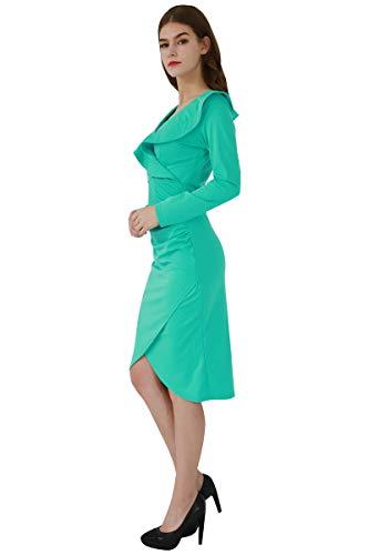 YMING Damen Langarm Kleid Volant Kleid Bodycon Bleistiftkleid Sexy Partykleid Elegante Bleistiftkleid,Grün,L/DE 40-42 - 2