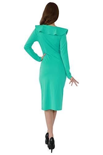 YMING Damen Langarm Kleid Volant Kleid Bodycon Bleistiftkleid Sexy Partykleid Elegante Bleistiftkleid,Grün,L/DE 40-42 - 3