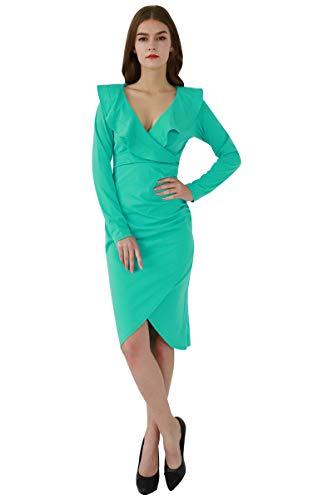 YMING Damen Langarm Kleid Volant Kleid Bodycon Bleistiftkleid Sexy Partykleid Elegante Bleistiftkleid,Grün,L/DE 40-42 - 1