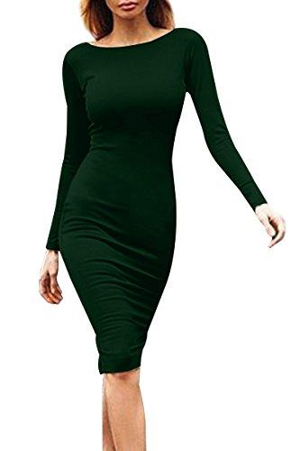 YMING Damen Langarmkleid Figurbetontes Kleid Reißverschluss Hinten Rückenfreies Kleid Knielanges Sexy Partykleid,Dunkel Grün,S/DE 36-38 - 2