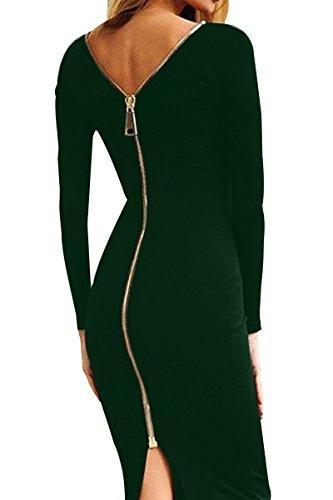 YMING Damen Langarmkleid Figurbetontes Kleid Reißverschluss Hinten Rückenfreies Kleid Knielanges Sexy Partykleid,Dunkel Grün,S/DE 36-38 - 3