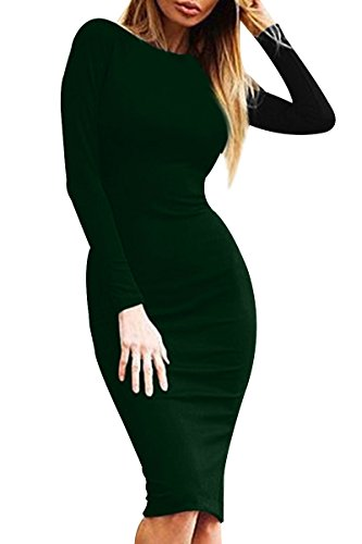 YMING Damen Langarmkleid Figurbetontes Kleid Reißverschluss Hinten Rückenfreies Kleid Knielanges Sexy Partykleid,Dunkel Grün,S/DE 36-38 - 4