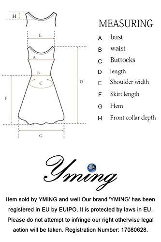 YMING Damen Langarmkleid Figurbetontes Kleid Reißverschluss Hinten Rückenfreies Kleid Knielanges Sexy Partykleid,Dunkel Grün,S/DE 36-38 - 6