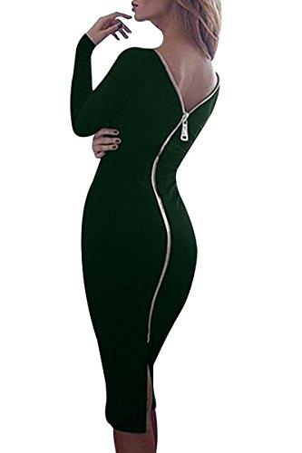 YMING Damen Langarmkleid Figurbetontes Kleid Reißverschluss Hinten Rückenfreies Kleid Knielanges Sexy Partykleid,Dunkel Grün,S/DE 36-38 - 1