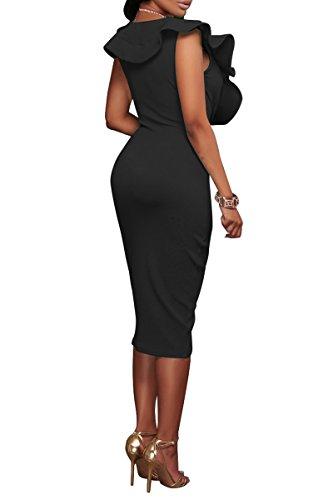 YMING Damen Midi Kleid Rüsche Kleid Tief V-Ausschnitt Partykleid Bodycon Stretchkleid,Schwarz,XL/DE 42-44 - 2