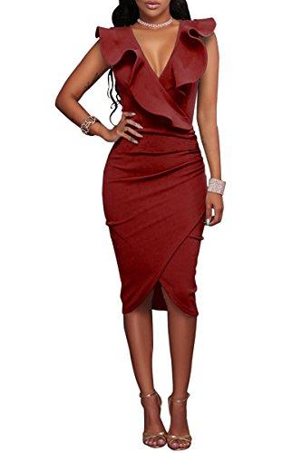 YMING Damen Midi Kleid Rüsche Kleid Tief V-Ausschnitt Partykleid Bodycon Stretchkleid,Rot,XL/DE 42-44 - 1