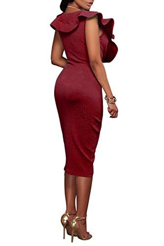 YMING Damen Midi Kleid Rüsche Kleid Tief V-Ausschnitt Partykleid Bodycon Stretchkleid,Rot,XL/DE 42-44 - 2