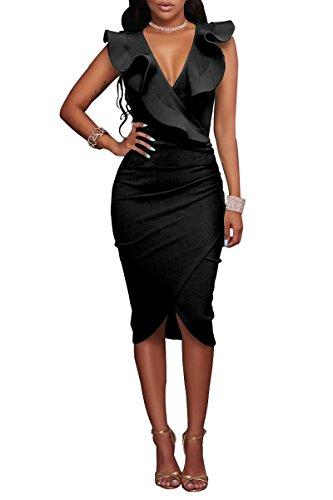 YMING Damen Midi Kleid Rüsche Kleid Tief V-Ausschnitt Partykleid Bodycon Stretchkleid,Schwarz,XL/DE 42-44 - 1