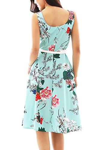 YMING Damen Partykleider Blumenkdruck CocktailkleidPetticoat Kleid Hochzeitgast Brautjunferkleid,Grün,Blumen,XL/DE 42-44 - 4